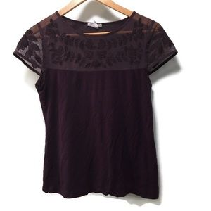 H&M purple short sleeve top with mesh yoke